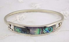 Alpaca Mexican Silver Abalone Shell Bangle Bracelet Fashion Jewelry NEW #Unbranded #Bangle
