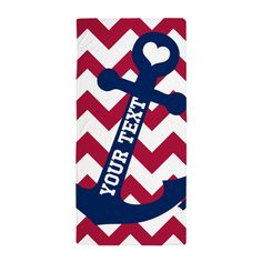 Personalized Nautical Chevron Anchor Beach Towel on CafePress.com