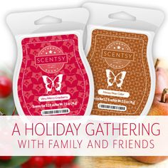 For the perfect holiday gathering fragrance, mix Scentsy Very Merry Cranberry with Scentsy Honey Pear Cider