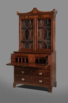 c1805 Federal desk bookcase, W Little, Sneedsboro, NC, mah, 94t,
