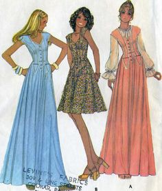 ©1975 Vintage 70s McCalls 4405 Misses Corset Style Evening Gown Prom Dress Sewing Pattern Size 10 Bust 32.5
