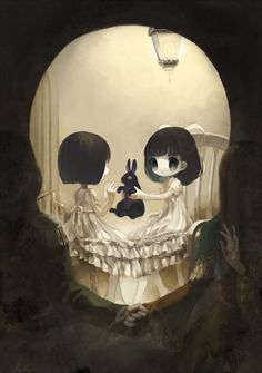 Image result for bunny skull illusion