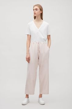 COS image 1 of Silk-cotton drop-crotch trousers in Powder Pink