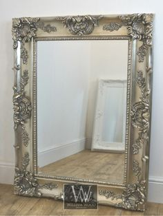 Grasmere Silver Ornate Rectangle Antique Wall Mirror x X Large Rustic Wall Mirrors, Mirror Wall Bathroom, Big Wall Mirrors, Mirror Design Wall, Lighted Wall Mirror, Mirror Wall Bedroom