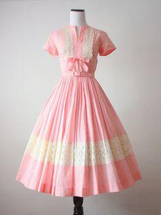 1950's pink lace dress
