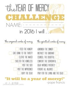 Catholic All Year: The Year of Mercy Family Challenge Catholic All Year, Catholic Kids, Works Of Mercy, Year Of Mercy, Catechist, Spiritual Words, Catholic Religion, Divine Mercy, Religious Education
