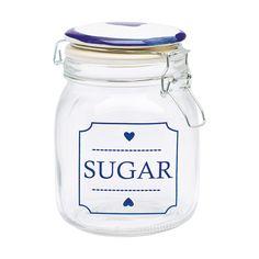 """Dieses nostalgische Aufbewahrunsglas mit dem Aufdruck """"Sugar"""" von Greengate bietet nicht nur Zucker, sondern auch Bonbons, Süßigkeiten oder Tee ein wunderschönes zu Hause."""