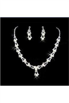 Atractivo Juego de Joyas para Novia con Perlas (Incluye Collar y Pendientes)-BF: Tidebuy.com