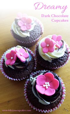 Dreamy Dark Chocolate Cupcakes with buttercream frosting and dark chocolate ganache, topped with cute pink fondant flowers