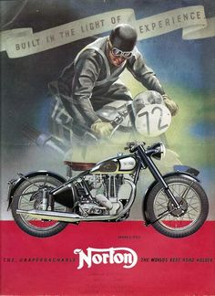 NORTON Motorcycle 1950s Vintage Advertising Poster Print in Full Color                                                                                                                                                                                 More