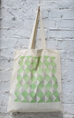 Ribbon hand printed cotton tote bag green by Patternalism on Etsy