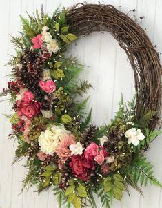 Diy Wreath, Grapevine Wreath, Outdoor Wreaths, Year Round Wreath, Summer Wreath, Holiday Wreaths, Floral Arrangements, Floral Wreath, Easter