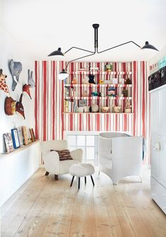 amazing kids room decor with all white walls and one accent wall in white and red stripes, red and white vertical striped wall in kids room, nursery room decor, white nursery decor with red and white striped accent wall Soho, Cool Kids Rooms, Cute Dorm Rooms, Nursery Room, Nursery Decor, Bedroom Decor, Nursery Ideas, Kids Bedroom, Baby Room
