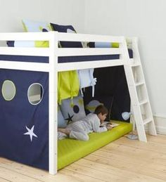 somewhere between mid high and the really high bunk beds for kids, this looks like a possibility.