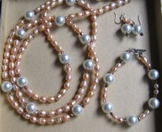 "Pink (freshwater) and white (faux)  pearl necklace, bracelet and earrings for a ""pink breakfast"" fundraiser"
