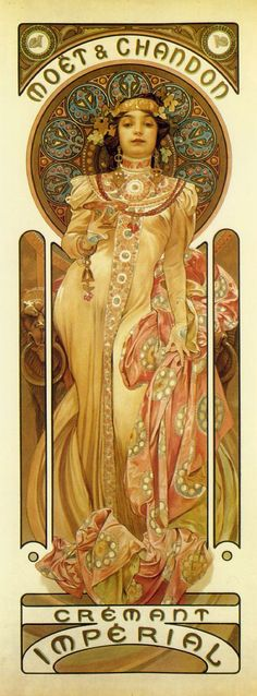 This Moet Chandon - Cremant Imperial Poster measures 12 x 36 inches. Semi art nouveau artist Alphonse Mucha created the poster entitled ? in It was commissioned by the famous Moet Chandon champagne house. Belle Epoque, Retro Poster, Vintage Posters, Vintage Art, Moet Chandon, Champagne Chandon, History Of Illustration, Alphonse Mucha Art, Mucha Artist