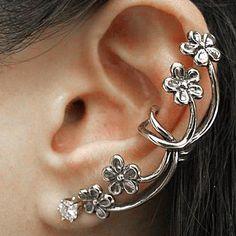 DoreenBeads Ear Cuff On Wrap Earrings For Left Ear Flower Antique silver  color Clear Rhinestone W 5dd3ceca1628