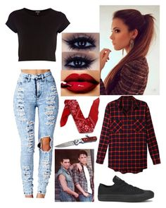 """Outsiders: Greasers"" by francheska74 ❤ liked on Polyvore featuring River Island, LE3NO, Converse and Shae"