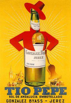 Recordamos un cartel mítico del #sherry Tío Pepe. ¿Quién no ha visto su figura por las carreteras de Cádiz en los viajes por Andalucía? #Diseño #Vintage