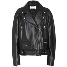 Acne Studios Merlyn Leather Jacket (47 480 UAH) via Polyvore featuring outerwear, jackets, coats & jackets, leather jacket, tops, black, real leather jackets, acne studios jacket, 100 leather jacket и leather jackets