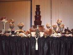 Chocolate Fountain and Dessert Buffet Table Set-up Inspiration Buffet Table Settings, Dessert Buffet Table, Candy Buffet, Chocolate Fountain Bar, Chocolate Fountains, Buffet Set Up, Table Set Up, Party Planning, Wedding Planning