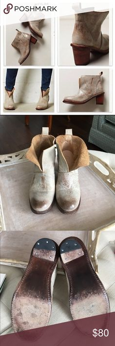 """Anthro Holding Horses Luminous Sliced Booties sz 7 Gorgeous, barely worn, and very rare. Holding Horses Luminous Sliced Booties size 7 from Anthropologie. Leather upper, insole, and sole. 2.5"""" stacked leather heel. 4"""" H. Anthropologie Shoes Ankle Boots & Booties"""