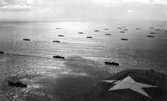 An Allied convoy, escorted by sea and air, plowed through the seas toward French North African possessions near Casablanca, French Morocco, in November of 1942, part of Operation Torch, the large British-American invasion of French North Africa.