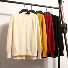 2017 Fashion New Twist Braid Computer Knitted Sweater Iregular Hem Split O-neck Sweater for Women Pullover Casual Autumn Clothes Autumn Clothes, Twist Braids, Fashion 2017, Casual, Sweaters For Women, Pullover, Braid, Fall Season, Tricot