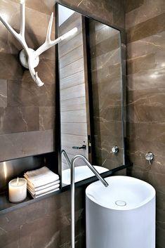Meyer Davis Studio Bathroom Vanity Decor, Modern Bathroom Decor, Modern Bathroom Design, Bathroom Interior Design, Bathroom Shelves, Bathroom Organization, Bathroom Ideas, Hotel W, Nashville