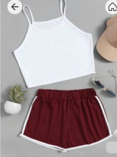 Chill outfit Shop Crop Cami Top With Contrast Trim Shorts online. SheIn offers Crop Cami Top With Contrast Trim Shorts & more to fit your fashionable needs. Mode Outfits, Short Outfits, Outfits For Teens, Trendy Outfits, Short Dresses, Girl Outfits, Fashion Outfits, Fashion Trends, Fashion Styles