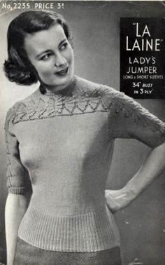 KNITTING PATTERN BAIRNSWEAR 2235 LA LAINE LADYS 1940s 3PLY TEXTURE YOKE SWEATER | eBay
