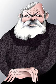 Hemingway, caricatura de Vasco Gargalo