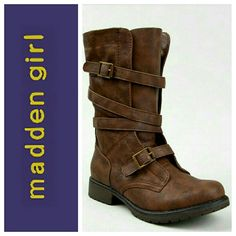 """Listing Madden girl combat boots Brown with bronze/gold adjustable buckle straps. Mid calf length and 1"""" heel. Worn a couple times but unfortunately they are too big for me. Thought I could fit into a 6 since it was a boot. Minimal signs of wear. Next to New condition! Make offers! Madden Girl Shoes Combat & Moto Boots"""