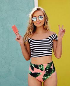 Mix and match your heart out. {stripies crop top + izabal bottoms}
