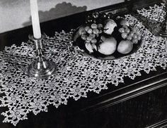 Table Runner crochet pattern from Old and New Favorites Doilies, originally published by Clark's ONT J Coats, Book 217, in 1944.