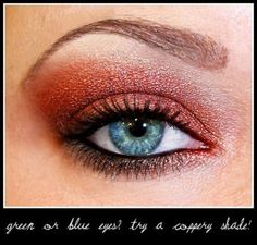 green or blue eyes? try a coppery shade
