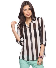 Make a style statement in this sheer shirt that features bold contrasting stripes. Features a classic collar and full button placket. Patch chest pockets. Long sleeves with buttoned cuffs. Woven. Unlined. Lightweight.