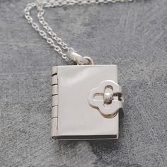 Silver Book Locket Pendant (With Four pages to Personalise) Silver Locket Necklace, Locket Bracelet, Gold Locket, Silver Lockets, Locket Charms, Sterling Silver Necklaces, Silver Earrings, Book Necklace, Necklace Chain