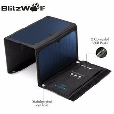 BlitzWolf Solar Power Bank Solar Panel Portable Charger External Battery Universal Powerbank For iPhone For Xiaomi Phones // FREE Worldwide Shipping! Portable Solar Power, Portable Solar Panels, Portable Charger, Comment Faire Une Dissertation, Usb, Solar Panel Charger, Sun Power, Accessoires Iphone, Blitz