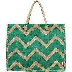 32.66$  Buy here - http://viohd.justgood.pw/vig/item.php?t=alh28x21252 - Mint Chevron Print Juco Beach/Shopping Tote Bag 32.66$