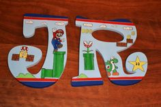 Hand Painted Custom Wooden Letters Super Mario Theme