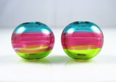 Triple Colors Hollow Lampwork Glass Bead Pairs by AlishaWhite on Etsy