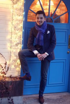 """On Sunday, this style """"The Luxury Weekend""""  Cashmere Jacket by Tailorable WineLabel  PQ shirt by fideli tie your tie  Poketsquare by Loropiana  Shoes by Carmina"""