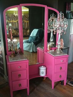New pink dressing table
