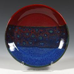 100bluesurf under 119cinnabar mayco stoneware glaze
