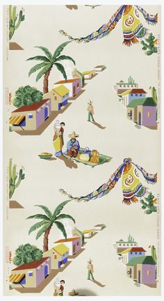 Sidewall | USA, 1948-1956 | Machine-printed on paper | Orange, tan, purple and yellow houses with persons in festive, brightly-colored costume printed on a cream ground | Cooper-Hewitt