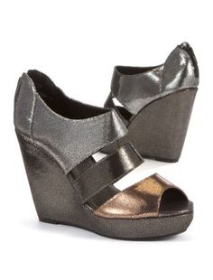 £19 Pewter (Pewter) Pewter Distressed Metallic Peeptoe Wedges | 264735495 | New Look