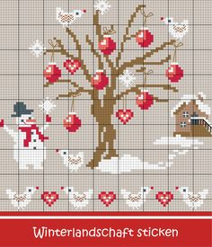 Embroider tree with Christmas tree balls - Discover numerous free charts for embroidery! - Embroider Christmas tree balls – Discover this motif and numerous other free charts, embroidery p - Cross Stitch Tree, Cross Stitch Cards, Cross Stitch Borders, Cross Stitch Baby, Modern Cross Stitch Patterns, Cross Stitching, Cross Stitch Embroidery, Cross Stitch Christmas Ornaments, Christmas Cross