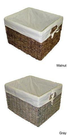 Baskets 125072: Handcrafted Large Woven Maize Rectangular Storage Baskets  (Set Of 2)