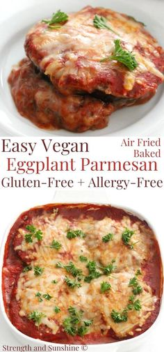 Easy Vegan Eggplant Parmesan recipe is gluten-free, allergy-free, quick to prepare! Crispy air fried eggplant slices, baked with homemade sauce & cheese! Gluten Free Eggplant Parmesan, Crispy Eggplant, Baked Eggplant, Vegan Eggplant Recipes, Pasta Recipes, Cooking Recipes, Healthy Recipes, Steak Recipes, Chickpea Recipes